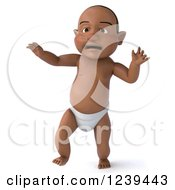 Clipart Of A 3d Black Baby Boy Walking 2 Royalty Free Illustration