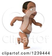 Clipart Of A 3d Black Baby Boy Running 2 Royalty Free Illustration