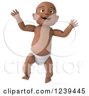 Clipart Of A 3d Black Baby Boy Jumping Royalty Free Illustration