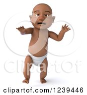 Clipart Of A 3d Black Baby Boy Walking 3 Royalty Free Illustration