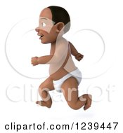 Clipart Of A 3d Black Baby Boy Running Royalty Free Illustration