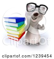 Clipart Of A 3d Bespectacled Polar Bear Holding A Thumb Up And A Stack Of Books Royalty Free Illustration