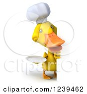 Clipart Of A 3d Chef Duck Looking Around A Sign With A Plate Royalty Free Illustration