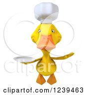 Clipart Of A 3d Chef Duck Flying With A Plate Royalty Free Illustration