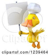 Clipart Of A 3d Chef Duck Flying With A Blank Sign Royalty Free Illustration