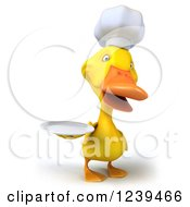 Clipart Of A 3d Chef Duck Holding A Plate 3 Royalty Free Illustration