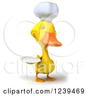 Clipart Of A 3d Chef Duck Holding A Plate Royalty Free Illustration