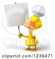 Clipart Of A 3d Chef Duck Holding Up A Blank Sign Royalty Free Illustration