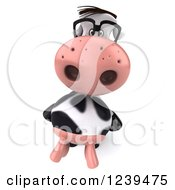 Clipart Of A 3d Bespectacled Cow Looking Up Royalty Free Illustration