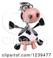 Clipart Of A 3d Bespectacled Cow Jumping Royalty Free Illustration