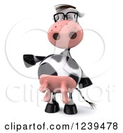 Clipart Of A 3d Bespectacled Cow Presenting Royalty Free Illustration