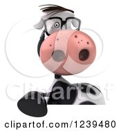 Clipart Of A 3d Bespectacled Cow Pointing Down To A Sign Royalty Free Illustration