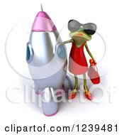 3d Female Frog By A Rocket