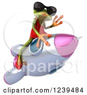 3d Female Frog Waving And Riding A Rocket