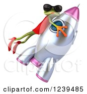 3d Female Frog Riding A Rocket 2