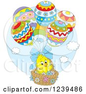 Clipart Of A Cute Easter Chick Floating In An Egg Balloon Basket Royalty Free Vector Illustration