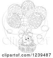 Clipart Of A Black And White Easter Chick Floating In An Egg Balloon Basket Royalty Free Vector Illustration