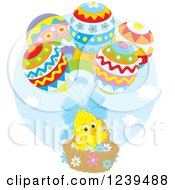 Clipart Of A Yellow Easter Chick Floating In An Egg Balloon Basket Royalty Free Vector Illustration