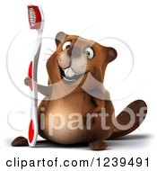 Clipart Of A 3d Beaver Holding A Toothbrush Royalty Free Illustration