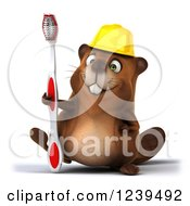 Clipart Of A 3d Construction Worker Beaver Holding A Toothbrush Royalty Free Illustration