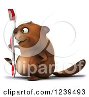 Clipart Of A 3d Beaver Walking With A Toothbrush Royalty Free Illustration