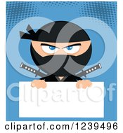 Clipart Of A Masked Ninja Warrior Over A Blank Sign On Blue Royalty Free Vector Illustration