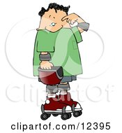 Confused Skater Boy Rubbing His Forehead Clipart Illustration