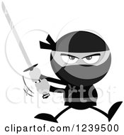 Clipart Of A Grayscale Ninja Warrior Jumping And Swinging A Katana Sword Royalty Free Vector Illustration