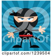 Clipart Of A Mad Ninja Warrior Over Blue Rays Royalty Free Vector Illustration