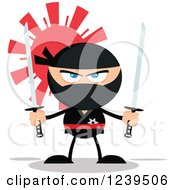 Clipart Of A Ninja Warrior Ready To Fight With Two Katana Swords Over A Red Sun Royalty Free Vector Illustration