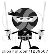 Clipart Of A Grayscale Ninja Warrior Ready To Fight With Two Katana Swords Royalty Free Vector Illustration