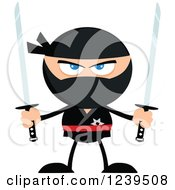 Clipart Of A Ninja Warrior Ready To Fight With Two Katana Swords Royalty Free Vector Illustration