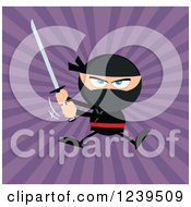 Clipart Of A Ninja Warrior Jumping And Swinging A Katana Sword Over Purple Rays Royalty Free Vector Illustration