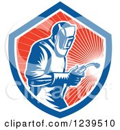 Clipart Of A Retro Woodcut Welder Worker In A Red Sunny Shield Royalty Free Vector Illustration