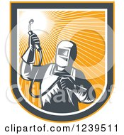 Clipart Of A Retro Woodcut Welder Worker In An Orange Sunny Shield Royalty Free Vector Illustration
