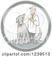 Clipart Of A Retro Cartoon Male Veterinarian With A Dog In A City Circle Royalty Free Vector Illustration by patrimonio