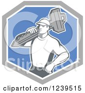 Clipart Of A Retro Male Locksmith With A Key In A Blue And Gray Shield Royalty Free Vector Illustration by patrimonio