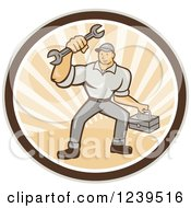 Clipart Of A Cartoon Handy Man With A Wrench And Tool Box In A Sunny Circle Royalty Free Vector Illustration
