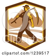 Clipart Of A Retro Male Farmer Walking With A Scythe In A Shield With Mountains Royalty Free Vector Illustration