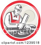 Clipart Of A Retro Woodcut Butcher Man Chopping Meat In A Circle Royalty Free Vector Illustration by patrimonio