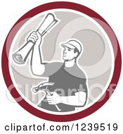 Clipart Of A Retro Male Carpenter Holding Up Blueprints And A Hammer In A Circle Royalty Free Vector Illustration