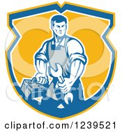 Clipart Of A Retro Repair Man Carrying A Wrench And Tool Box In A Shield Royalty Free Vector Illustration