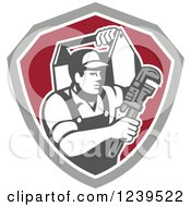 Clipart Of A Retro Handy Man With A Wrench And Tool Box In A Shield Royalty Free Vector Illustration