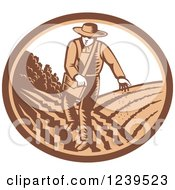 Clipart Of A Retro Woodcut Farmer Sowing Seeds In An Oval Royalty Free Vector Illustration
