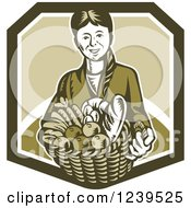 Clipart Of A Retro Woodcut Woman Holding A Basket Of Harvest Foods And Bread Royalty Free Vector Illustration