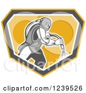 Clipart Of A Retro Sandblaster Working In A Shield Royalty Free Vector Illustration by patrimonio