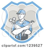 Clipart Of A Retro Refrigeration Mechanic Worker Holding A Pressure Gauge In A Shield Royalty Free Vector Illustration