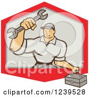 Clipart Of A Cartoon Handy Man With A Wrench And Tool Box In Shield Royalty Free Vector Illustration
