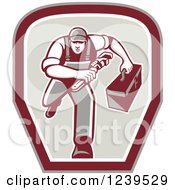 Clipart Of A Retro Running Handy Man With A Wrench And Tool Box In A Shield Royalty Free Vector Illustration
