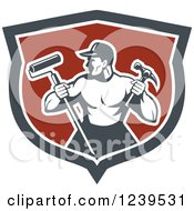 Poster, Art Print Of Retro Strong Male Painter Or Handy Man In A Shield